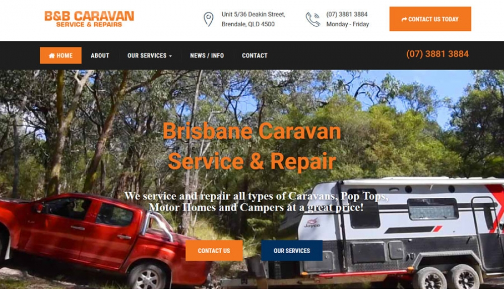 Website Homepage - B&B Caravan Service & Repairs